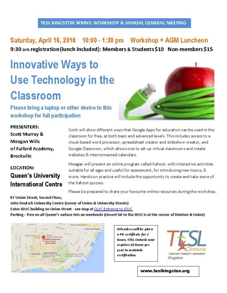 TESL Kingston Apr 2016 Spring Workshop and AGM